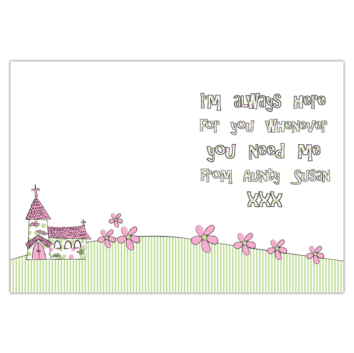 personalised 1st holy girls communion card pink whimsical church girl first communion cards